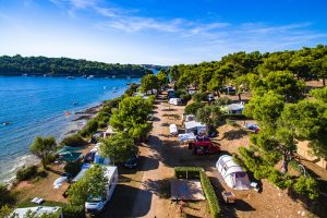 Camping Arena Indije pitches near the sea air view | AdriaCamps