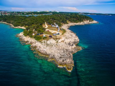 Camping Arena Stoja sea rock air view | AdriaCamps