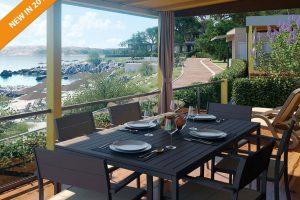 Kamp Jezevac: nove Lungomare Mobilne kucice pogled s terase | AdriaCamps
