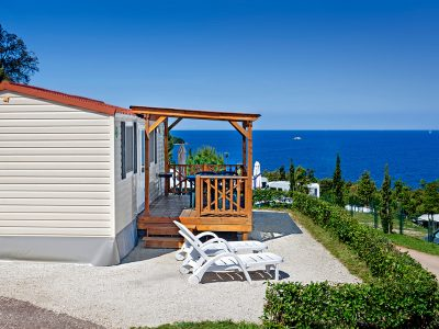 Camping Orsera mobile homes sea view from terrace | AdriaCamps