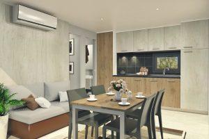 Kamp Santa Marina mobilne kucice Premium Comfort dnevna soba s stolom za blagovanje | AdriaCamps