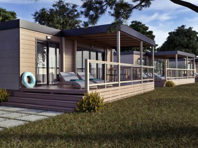 Kamp Santa Marina mobilne kucice Premium Family izvana | AdriaCamps