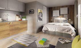 Kamp Rehut otok Murter, interijer i bracni krevet mobilne kucice Pearl Suite | AdriaCamps